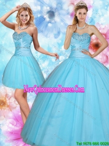 2015 Discount and New Style Sweetheart Beaded Quinceanera Dress in Baby Blue