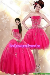 Beautiful and New Style Strapless Floor Length Quince Dresses with Appliques in Hot Pink