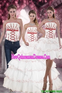 Lovely and New Style White Quince Dresses with Appliques and Ruffled Layers for 2015