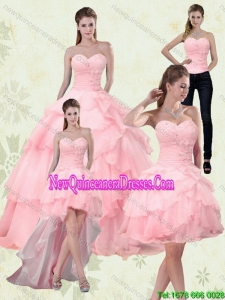 Pretty Sweetheart Beaded 2015 Quinceanera Dresses with Ruffled Layers