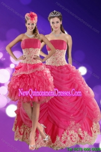 2015 Pretty Hot Pink Quinceanera Dresses with Beading and Lace