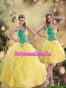 2015 Pretty Ruching Quinceanera Dresses in Yellow and Green