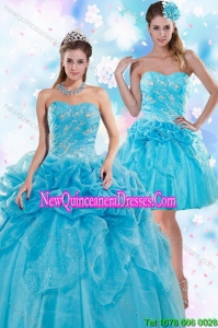 Pretty Appliques and Pick Ups Blue Quinceanera Dresses for 2015