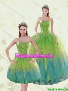 Pretty Multi Color Quinceanera Dresses with Appliques and Ruffles
