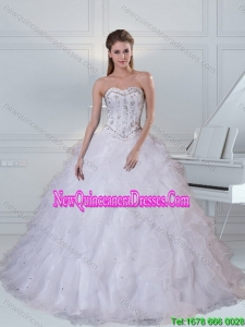 Top Seller Detachable Sweetheart White Quinceanera Dress with Ruffles and Beading