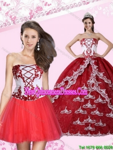 2015 Top Seller Appliques Strapless Quinceanera Dress in Multi Color