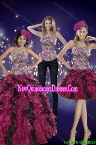 2015 Top Seller Strapless Multi-color Quinceanera Dress with Leopard Print