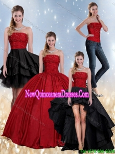 Top Seller Beaded Strapless Ball Gown 2015 Quinceanera Dress in Red and Black