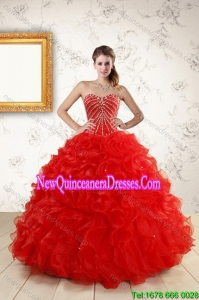2015 Top Seller New Style Quince Dresses With Beading and Ruffles
