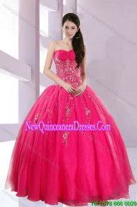 2015 Top Seller Strapless Hot Pink Quince Dresses with Appliques