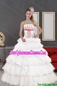 2015 Top Seller White Quinceanera Dresses with Appliques and Ruffled Layers