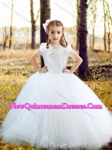 Fashionable Scoop Really Puffy Cute Little Girl Pageant Dresses with Hand Made Flowers and Appliques