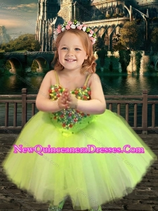 Most Popular Yellow Green Spaghetti Straps Cute Little Girl Pageant Dress with Beading