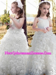 New Arrivals Ruffled and Bowknot White Cute Little Girl Pageant Dress with Straps