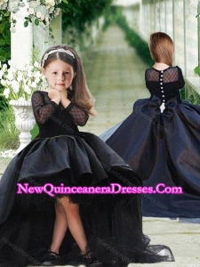 Romantic See Through Long Sleeves Cute Little Girl Pageant Dress in Navy Blue