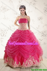 Top Seller 2015 Strapless Hot Pink Quinceanera Dresses with Beading and Lace
