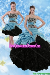 Top Seller Zebra Print Multi Color Strapless Quince Dresses with Ruffles and Pick Ups