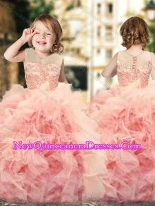 Wonderful Ruffled and Laced Cute Little Girl Pageant Dress with See Through Scoop