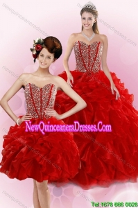 2015 Top Seller Red Quince Dresses with Beading and Ruffles