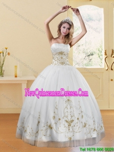 2015 Top Seller Strapless Embroidery White and Gold Dresses for Quinceanera