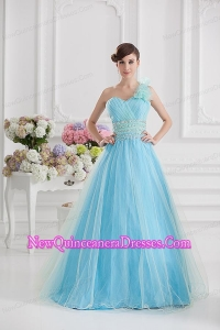 Beautiful A-line One Shoulder Ruching and Beading Aqua Blue Quinceanera Dress