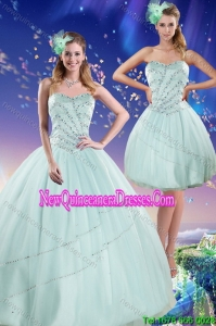 Top Seller 2015 Apple Green Strapless Quinceanera Dresses with Beading