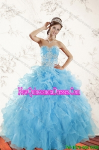 2015 Top Seller Baby Blue Quince Dresses with Appliques and Ruffles