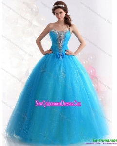 2015 Exquisite Blue Quinceanera Dresses with Rhinestones and Bowknot