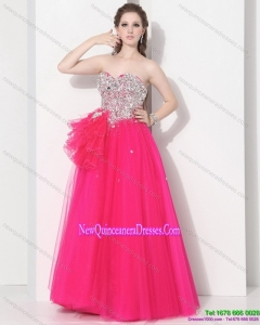 2015 Gorgeous Hot Pink Sweet Sixteen Dresses with Beading
