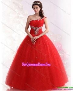 2015 Perfect Red One Shoulder Sweet 15 Dresses with Beading
