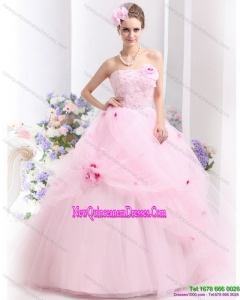 Fashionable Baby Pink Sweet Sixteen Dresses with Hand Made Flowers for 2015