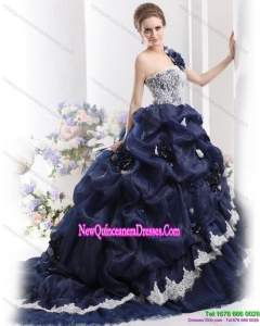 Puffy 2015 One Shoulder Ruffles Quinceanera Dresses with Hand Made Flowers and Pick Ups
