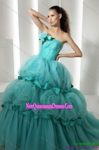 Puffy Floor Length 2015 Quinceanera Dresses with Hand Made Flowers and Beading
