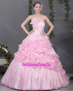 2015 Puffy Pink Quinceanera Gowns with Hand Made Flowers and Ruffles