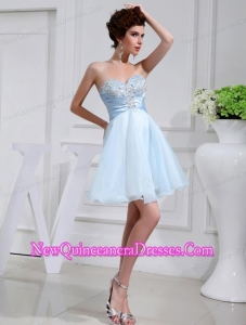 A-line Chiffon Aqqliques Strapless Light Blue Sweatheart Dama Dresses