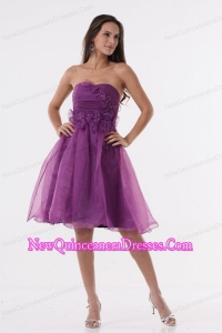 A-line Purple Strapless Appliques Organza Knee-length Dama Dress for Quinceanera