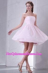 Baby Pink A-line Strapless Dresses for Dama with Mini-length