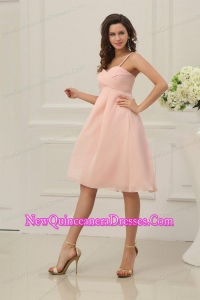 Baby Pink Spaghetti Straps Chiffon Dama Dress for Quinceanera