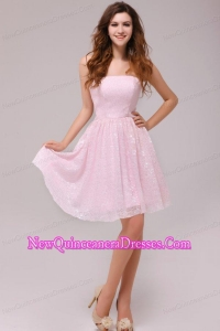 Baby Pink Strapless Knee-length Empire Dama Dresses for Cocktail Party
