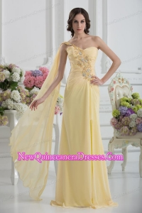 Bowknot Sweetheart Empire Watteau Train Dama Dresses in Gold