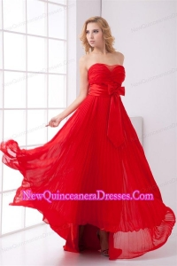 Elegant Strapless Red Empire Pleat Chiffon Dama Dress for Quinceanera with Bowknot