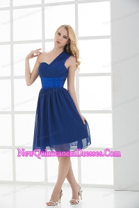 Empire One Shoulder Sleeveless Knee-length Blue Dama Dresses