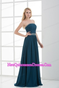 Empire Strapless Beading Floor-length Chiffon Dama Dresses