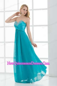 Empire Teal Sweetheart Floor-length Beading Dresses for Dama