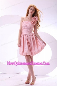 Flowers Straps Baby Pink Short Dresses for Dama with Knee-length