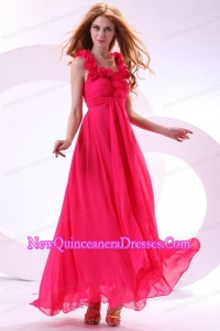 Hot Pink Empire Straps Ankle-length Ruching Chiffon Dama Dresses