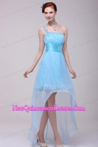 Light Blue One Shoulder High-low Beaded Decorate Dresses for Dama for Girls