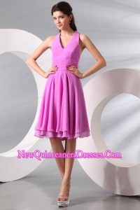 Lilac Halter Top Ruching Knee-length Chiffon Dama Dress for Quinceanera