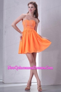 Sweetheart A-line Mini-length Beaded Decorate Dama Dresses in Orange