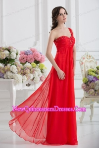 Sweetheart One Shoulder Empire Beading Red Dama Dresses